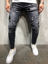 Chic Solid Fitted Embroidery Patch Jeans For Men