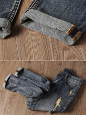 Hot Sale Fitted Embroidery Personality Jeans For Men