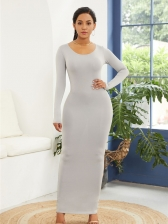 Sexy Crew Neck Fitted Maxi Dress