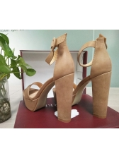 Euro Suede Ankle Straps Platform Heels For Women