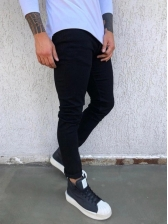 Korean Solid Fitted Chic Black Jeans For Men