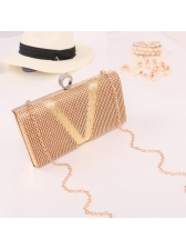 Diamond Patchwork Chevron Evening Clutch Bag