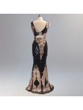 Boutique Sequined V Neck Fitted Sexy Evening Dresses