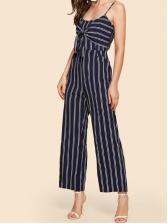 Striped Spaghetti Straps Binding Lady Jumpsuits