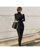 High Neck Fitted Black Knitting Maxi Dress