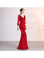 Velvet Patchwork Rhinestone V Neck Boutique Evening Dresses