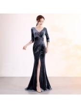 Velvet V Neck Split Fitted Evening Dresses