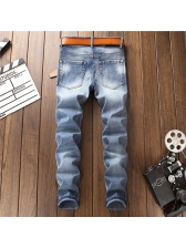 Solid Fitted Flower Embroidery Rinse Jeans For Men