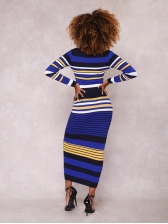 Attractive Multicolored Striped Cropped 2 Pieces Sets