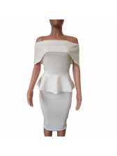Off The Shoulder Fitted Peplum Dress For Women