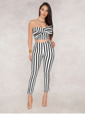 Hot Sale Boat Neck Bow Striped 2 Piece Sets