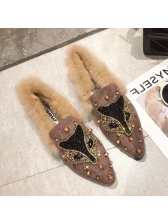 Winter Beading Furry Slip On Warm Flats Shoes