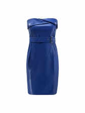Hot Sale Solid Fitted Strapless Bodycon Dress