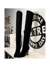 Velvet Pointed Top Chunky Knee High Boots