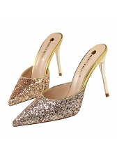Simple Style Sequined Pointed Stiletto For Women