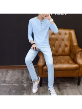 Solid Fitted Long Sleeves Casual Activewear For Men