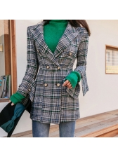 Plaid Lapel Double-breasted Coat With Green Sweater