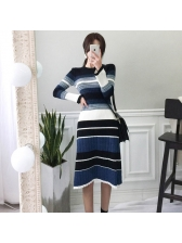 Fashion Crew Neck Striped Patchwork Knitting Dress