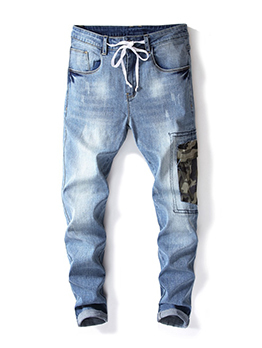 New Arrival Fitted Patch Rinse Drawstring Men Jeans