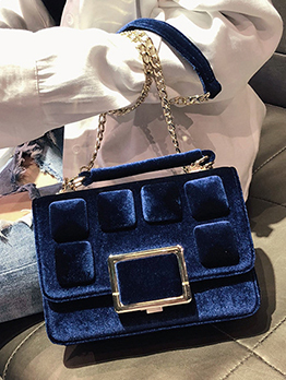 Metal Patchwork Velvet Chain Square Shoulder Bag