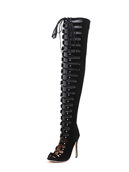 Euro Peep-Toe Lace Up High Heel Boots