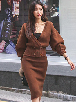 Retro Lantern Sleeve Knitted Two Pieces Outfits