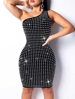 Backless Diamond Off Shoulder Sleeveless Bodycon Dress