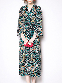 Printed Binding Bow Classy Vintage Maxi Dresses