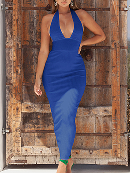Sexy Halter Bodycon Backless Ladies  Maxi Dress