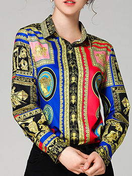 Euro Printed Contrasting Colors Red Blouse