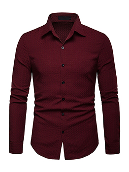 Turndown Neck Fitted Long Sleeve Shirt