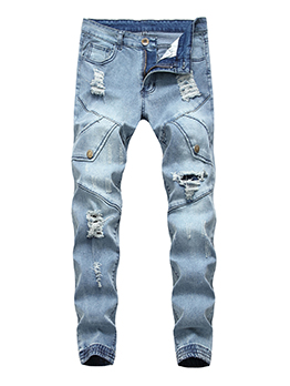 Euro Hot Sale Worn Out Light Blue Jogger Jeans