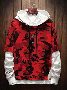 Patchwork Camouflage Drawstring Hoodies For Men