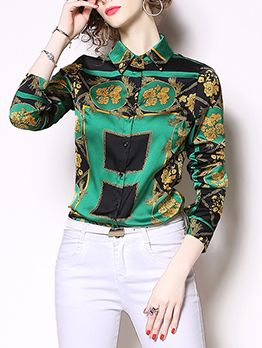 Euro Style Printed Spread Neck Blouse For Woman