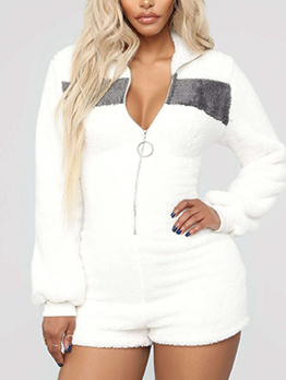 Euro Contrasting Colors Zipper White Rompers