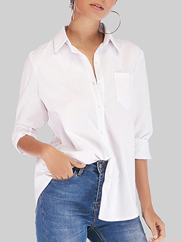 Formal Spread Neck Pockets Woman Blouse