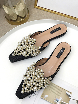 Stylish Beading Close Toe Woman Flats