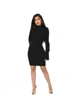 Hot Sale Solid Fitted Rib Flare Sleeves Dress