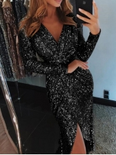 Sexy Split V Neck Fitted Sequin Dress