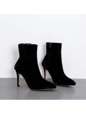 Chic Rivet Black Heel Zipper Pointed Ankle Boots