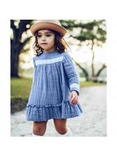 Lace Detail Crew Neck Baby Girls Casual Dresses