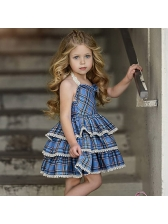 Pretty Plaid Lace Detail Tiered Baby Girls Dresses