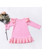 New Arrival Crew Neck Baby Girls Ruffle Dress