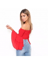 Chic Solid Flare Sleeves Off Shoulder Cropped Top