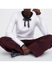 Crew Neck Bow Patchwork Faux Fur White Sweater