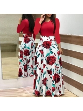 Hot Sale Patchwork Printed Fitted Basic Maxi Dress