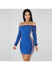 Sexy Printed Off Shoulder Simple Long Sleeve Dress