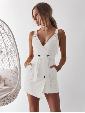 Double-breasted Deep V Neck Tie-Wrap Straps Dress