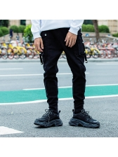 Fitted Solid Rivets Pockets Drawstring Pants For Men