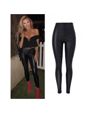 New Arrival Solid Fitted High Waist Biker Pants